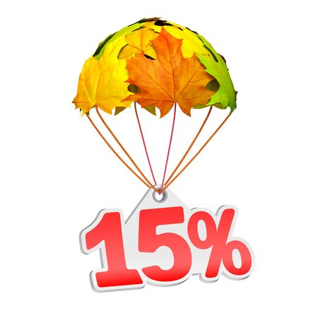 Paper price tag label as fifteen percent (15%) go down on a parachute in the form of vibrant maple leaves on white background. Autumn sale shopping season or advertising announcement