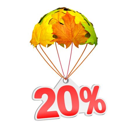 Paper price tag label as twenty percent (20%) go down on a parachute in the form of vibrant maple leaves on white background. Autumn sale shopping season or advertising announcement