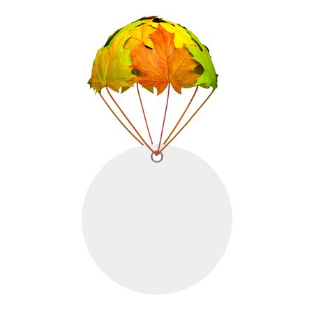 Empty circle paper price tag label go down on a parachute in the form of vibrant maple leaves on white background as symbol of autumn sale shopping season or creative advertising template