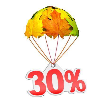 30% (30%) と紙の値札ラベルは白地に鮮やかなカエデの葉の形でパラシュートに下る。秋の販売商戦や広告のお知らせ