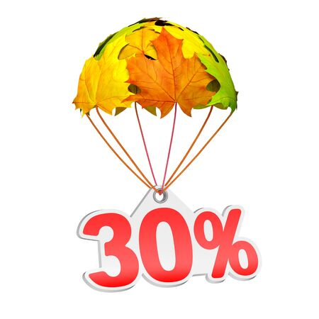 Paper price tag label as thirty percent (30%) go down on a parachute in the form of vibrant maple leaves on white background. Autumn sale shopping season or advertising announcement