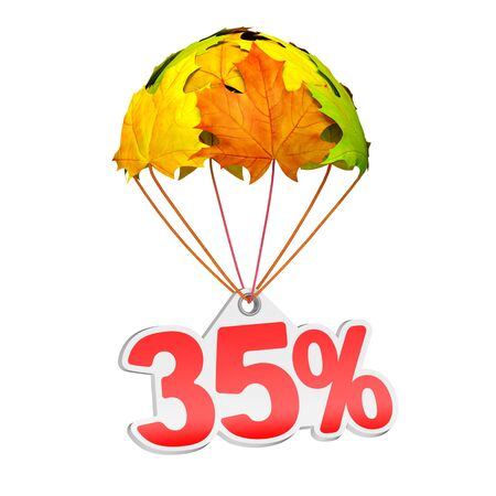 Paper price tag label as thirty five percent (35%) go down on a parachute in the form of vibrant maple leaves on white background. Autumn sale shopping season or advertising announcement