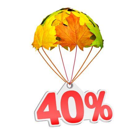 40% (40%) と紙の値札ラベルは白地に鮮やかなカエデの葉の形でパラシュートに下る。秋の販売商戦や広告のお知らせ