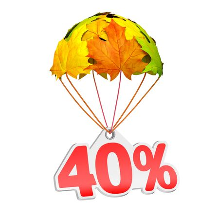 Paper price tag label as forty percent (40%) go down on a parachute in the form of vibrant maple leaves on white background. Autumn sale shopping season or advertising announcement Stockfoto