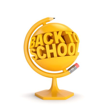 Back to school (creative education concept). Yellow words and pencil in the form of terrestrial globe as symbol of beginning of the autumn school time, academic year or sale season