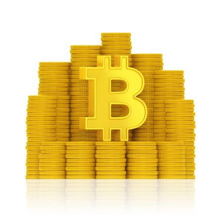 Bitcoin sign with stacks of golden coins on reflection surface on white background