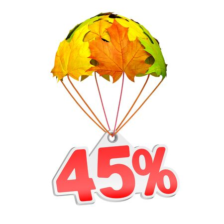 Paper price tag label as forty five percent (45%) go down on a parachute in the form of vibrant maple leaves on white background. Autumn sale shopping season or advertising announcement
