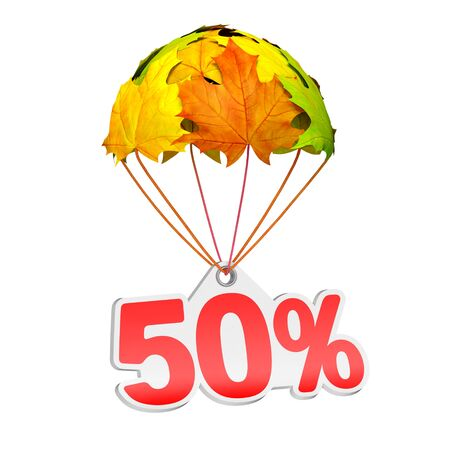 Paper price tag label as fifty percent (50%) go down on a parachute in the form of vibrant maple leaves on white background. Autumn sale shopping season or advertising announcement