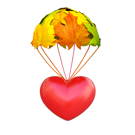 Red heart go down on a parachute in the form of vibrant maple leaves on white background as symbol of autumn wedding season, romantic amour time. Invitation love creative concept