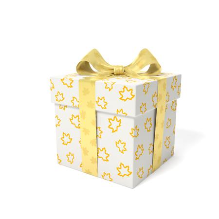線形アウトライン黄色メープル ギフト ボックスの葉し、秋シーズンの贈り物、祝日、誕生日や販売の立ち下がり時間のシンボルとして葉ゴールデン