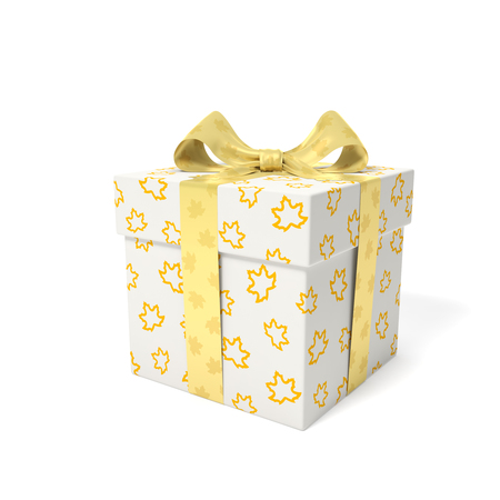 Gift box with linear outline yellow maple leaves and golden ribbon and bow with shiny reflection leaves as symbol of autumn season of gifts, holidays, birthdays or sale fall time