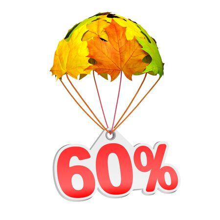 60% (60%) と紙の値札ラベルは白地に鮮やかなカエデの葉の形でパラシュートに下る。秋の販売商戦や広告のお知らせ