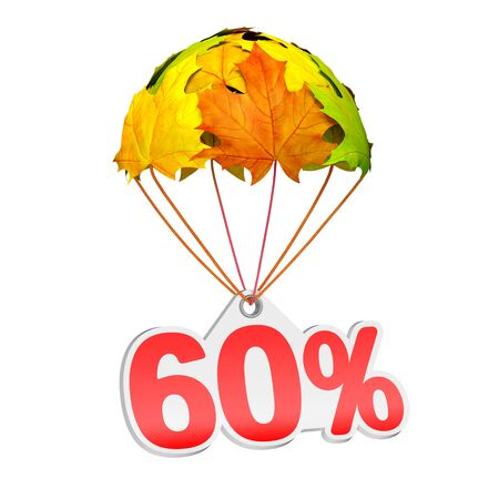 Paper price tag label as sixty percent (60%) go down on a parachute in the form of vibrant maple leaves on white background. Autumn sale shopping season or advertising announcement