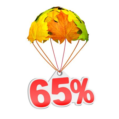 Paper price tag label as sixty five percent (65%) go down on a parachute in the form of vibrant maple leaves on white background. Autumn sale shopping season or advertising announcement