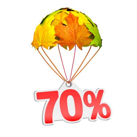 70% (70%) と紙の値札ラベルは白地に鮮やかなカエデの葉の形でパラシュートに下る。秋の販売商戦や広告のお知らせ