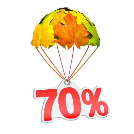 Paper price tag label as seventy percent (70%) go down on a parachute in the form of vibrant maple leaves on white background. Autumn sale shopping season or advertising announcement Stockfoto