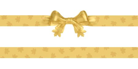 Golden bow and ribbon with shiny reflection maple leaves. Decoration autumn design element. Additional ribbon (tape) seamless in horizontal direction