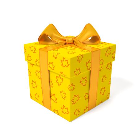 線形アウトライン オレンジ メープルと黄色のギフト ボックスの葉し、オレンジ リボン、プレゼント、休日、誕生日または販売の秋シーズンのシン
