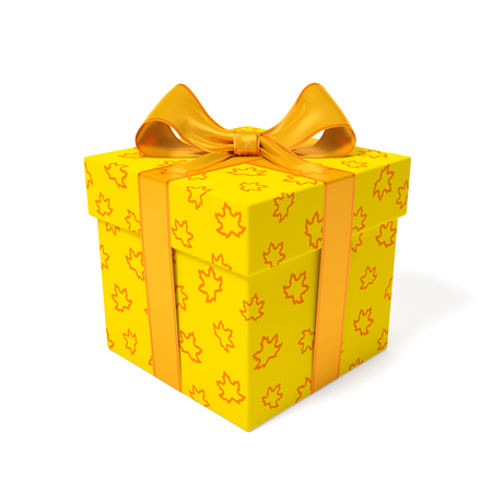 Yellow gift box with linear outline orange maple leaves and orange ribbon and bow with lines as symbol of autumn season of gifts, holidays, birthdays or sale fall time. 3d rendering