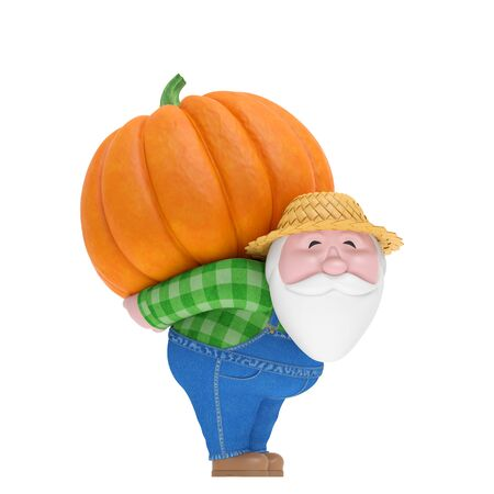Thanksgiving day or autumn harvest festival. Smiling funny charming plump bearded little old farmer in jean jumpsuit (denim overall) and straw hat carry on back big orange pumpkin. 3d illustration