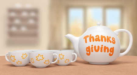 Thanksgiving day (festive creative card). White ceramic teapot with orange text and tea cups with yellow maple leaves on brown table on blurred background as traditional family dinner. 3d rendering Banque d'images