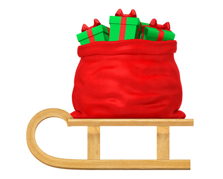 Open Santa Claus bag with presents (gift boxes) on wooden sleigh (side view, isolated on white background). New Year or Christmas winter holiday concept. 3d rendering illustration