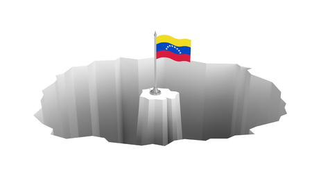 Economic recession, political crisis, financial meltdown, social fracture in Venezuela. Venezuelan flag in the middle of the abyss Фото со стока