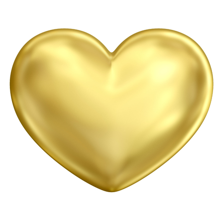 Golden heart (front view). Classic traditional elegant shiny metal heart with bright reflection and soft glossy glitter isolated on white background