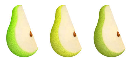 Slice of pear fruit with seed isolated on white background. Collection of ripe juicy green pieces of pear. Set of three kinds of pears. 免版税图像