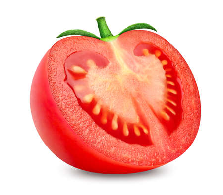 Half of tomato isolated on white background  . Tasty organic fresh red half of tomato with ripe juicy pulp and natural green stalk 免版税图像