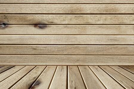 on wood floor: wall and floor siding weathered wood background Stock Photo