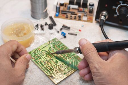 Ic: Solder and electronic circuit board