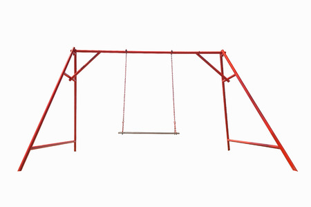 chain swing ride: Swing red steel Isolated on white background.