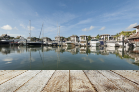 dinghies: Wood Terrace on pier phuket  Blur background Stock Photo