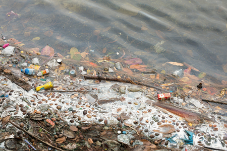 excremental: water resources that is polluted with various garbage and trash