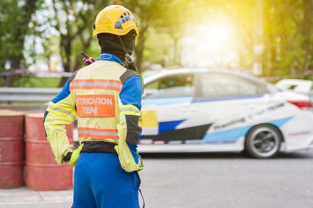 Race marshall stand guard Фото со стока