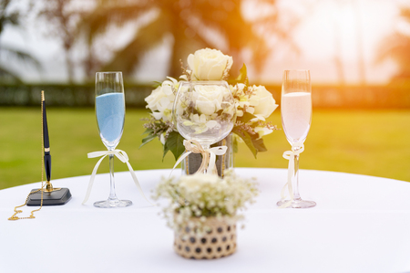 Sand Ceremony On Wedding Glass Vases For Bride And Groom With