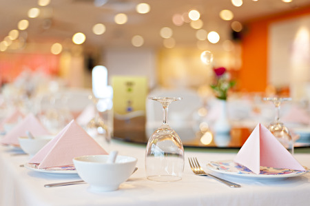 served banquet table Stock Photo