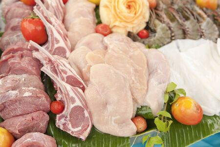 fresh beef and pork with barbecue party