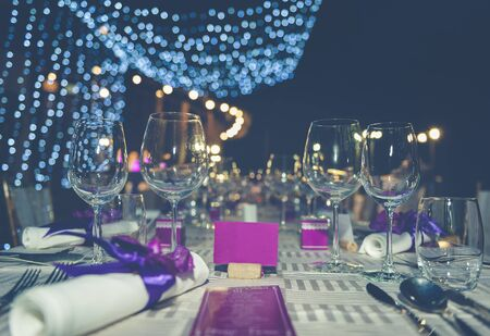 Romantic dinner setting with process vintage style Stock Photo