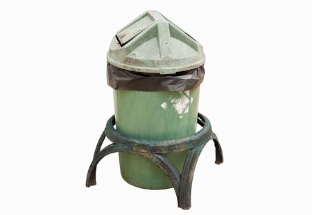 green bin with inside black bags on white background