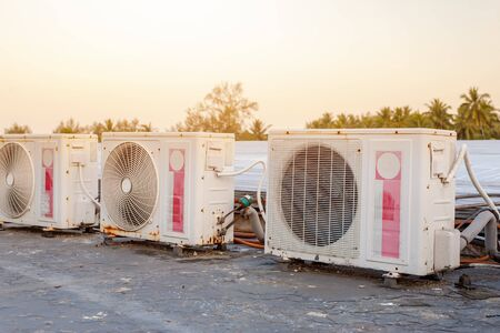 air conditioners installation outside on the floor Stockfoto
