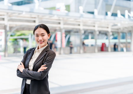 Modern asian business woman smilie with copy space