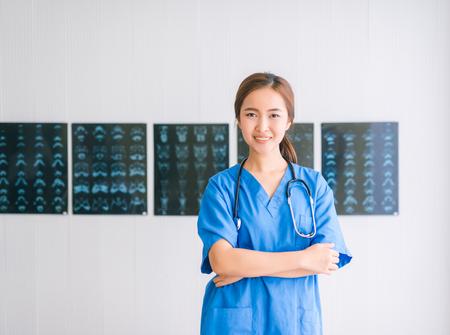 Young Asian nurse portrait Stock Photo