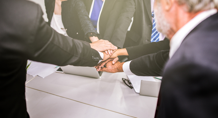Business team stack hands support concept in office