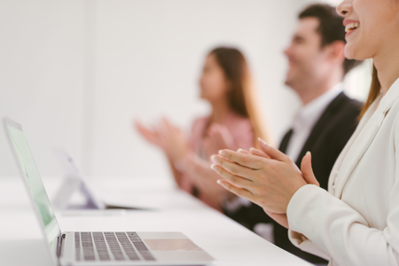 Business people clapping their hands, congratulation and appreciation concepts Imagens