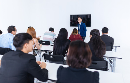 businessman presentation in a conference meeting room and Audience of the lecturer