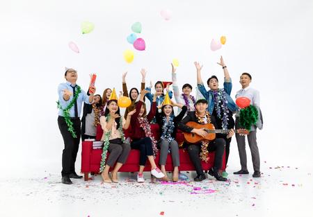 Gente de negocios celebrando la fiesta de año nuevo y la celebración de Navidad Foto de archivo