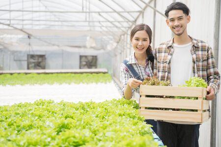 Azjatycka młoda para rolnik w szklarni hydroponicznych gospodarstwa kosz warzyw. Zbierają warzywa zieloną sałatę.
