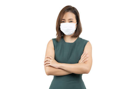 Young Worry Asian woman wearing hygienic mask